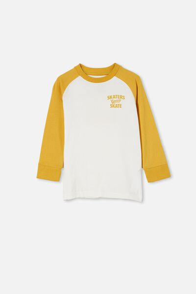 Tom Long Sleeve Raglan Tee, HONEYGOLD/SKATERS GONNA SKATE