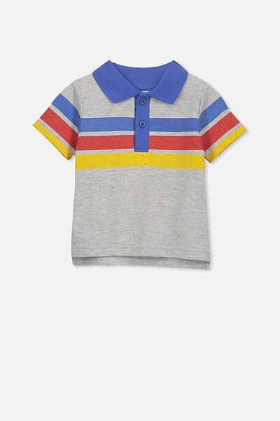 Hugo Polo Tee, LIGHT GREY MARLE/3 STRIPE