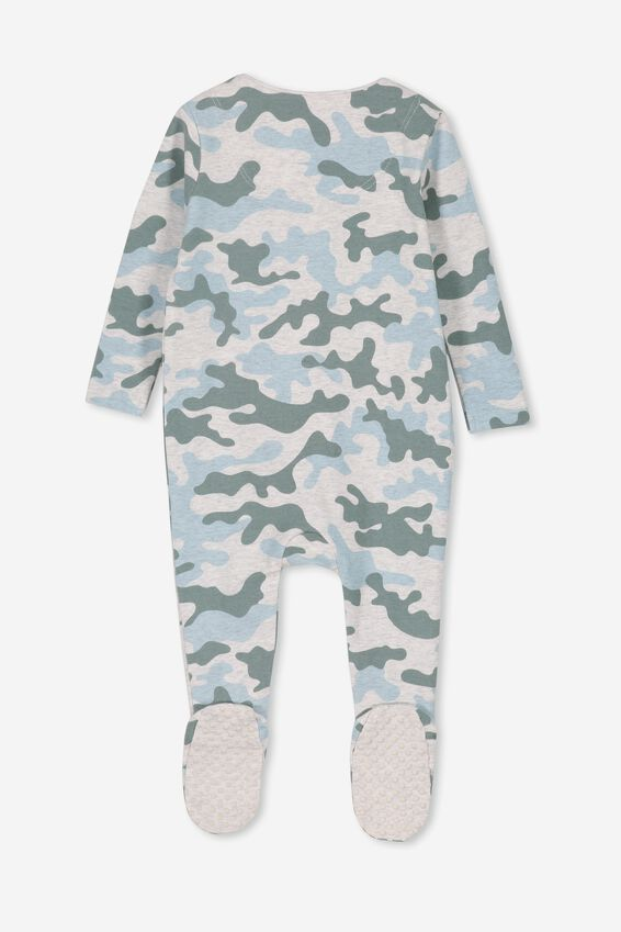 The Snug Long Sleeve Zip Romper, SOFT GREY MARLE/STORMY SEA CAMO