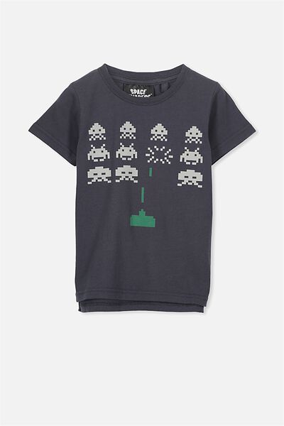 Short Sleeve License Tee, GRAPHITE/SPACE INVADERS