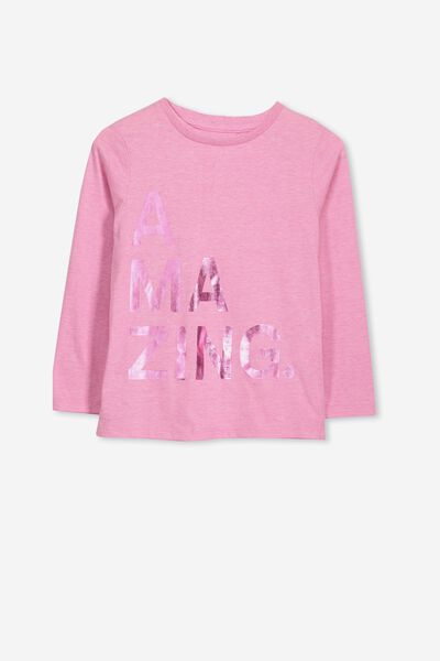 Penelope Long Sleeve Tee, FUCHSIA PINK MARLE/AMAZING/SET IN