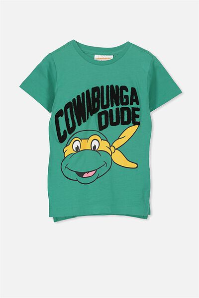 Short Sleeve License Tee, JADE GREEN/TMNT COWABUNGA DUDE