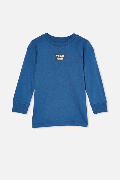 Max Long Sleeve Tee, PETTY BLUE/YEAH NAH