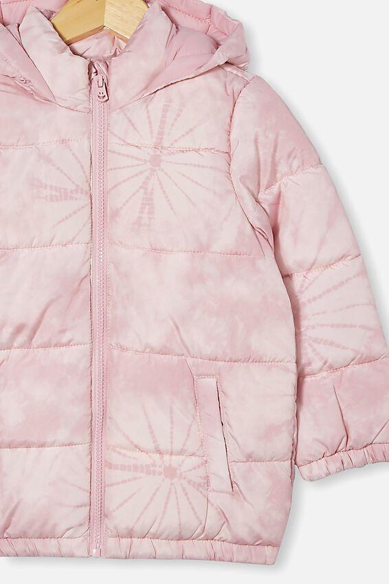 Frankie Puffer Jacket, CRYSTAL PINK TIE DYE
