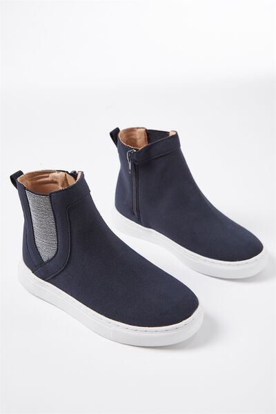 Darcy Gusset Boot, NAVY/SILVER