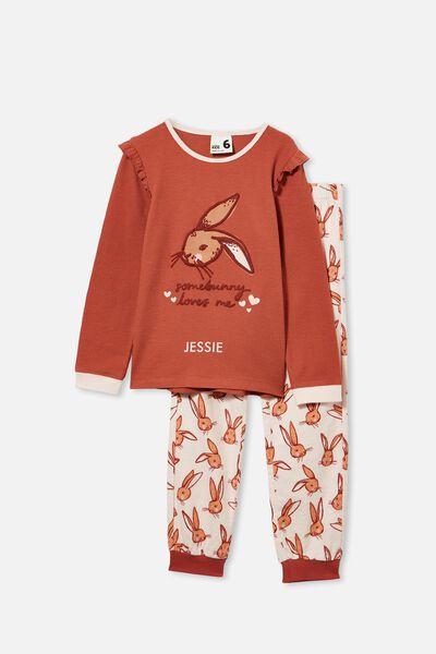 Edith Long Sleeve Pyjama Set Personalised, SOME BUNNY/CHUTNEY
