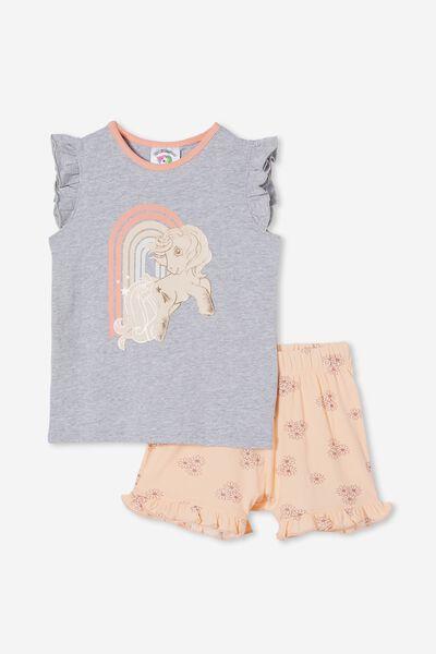 Stacey Flutter Short Sleeve Pyjama Set Licensed, LCN HAS MLP RAINBOW/PEACH TANG