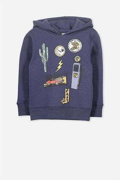 Liam Hoodie, WASHED NAVY/BADGES
