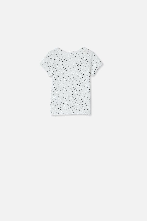 Henry Short Sleeve Placket Top, VANILLA/MINI STARS