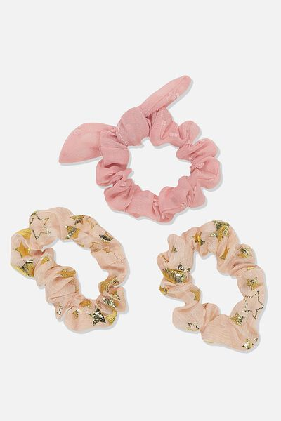 Mini Scrunchie, PINK GOLDY STARS