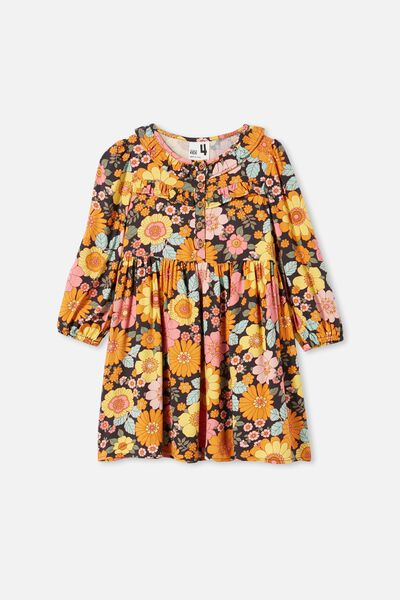 Adeline Long Sleeve Dress, PHANTOM RETRO FLORAL