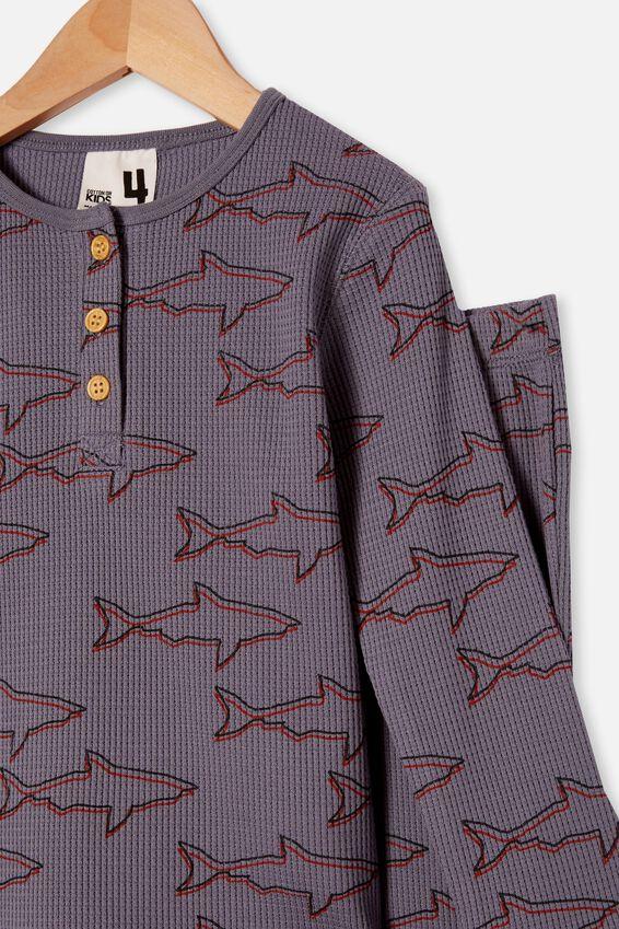 Ryan Waffle Long Sleeve Pyjama Set, SHARKS STEEL