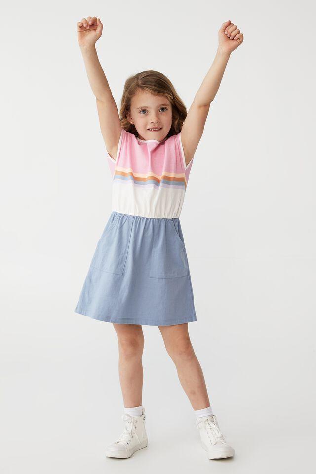 Sigrid Short Sleeve Dress, DUSTY BLUE/RETRO COLOUR BLOCK