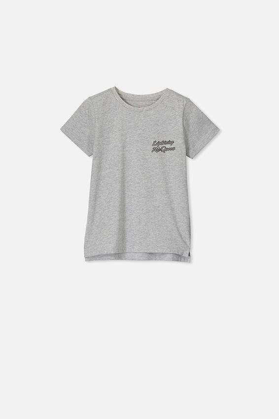 Short Sleeve License1 Tee, LCN DIS LIGHTENING MCQUEEN GREY MARLE
