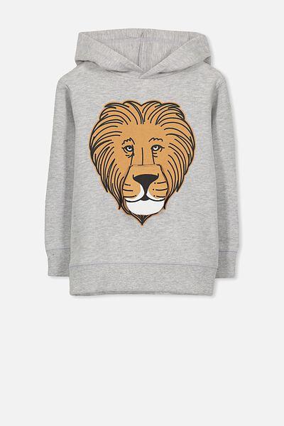 Liam Hoodie, LT GREY MARLE/LION