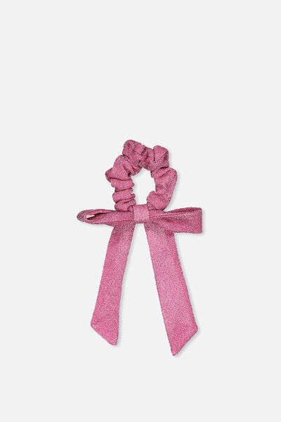 Bow Scrunchie, METALLIC PINK/BOW