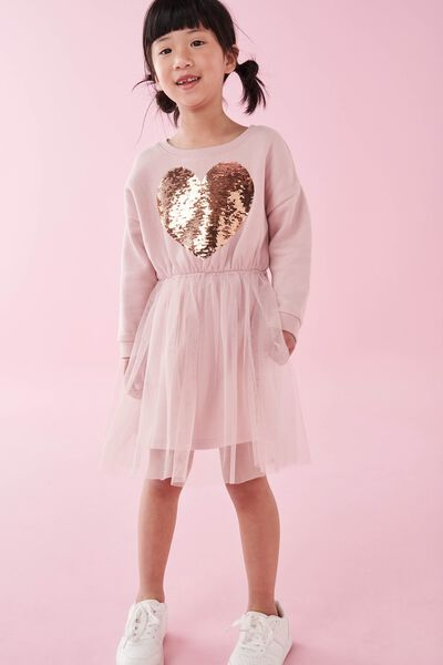 Vivienne Long Sleeve Dress, DUSTY PINK/HEART