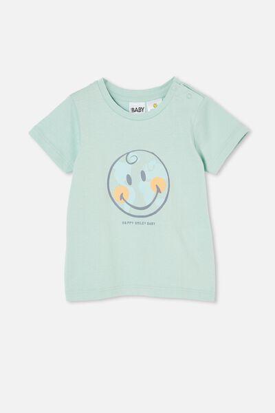 Jamie Short Sleeve Tee-License, LCN SMI DUCK EGG/HAPPY SMILEY PLANET