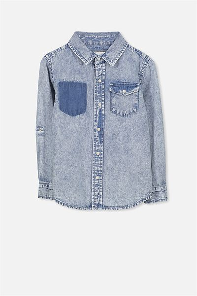 Noah Long Sleeve Shirt, TRUCKER WASHED DENIM