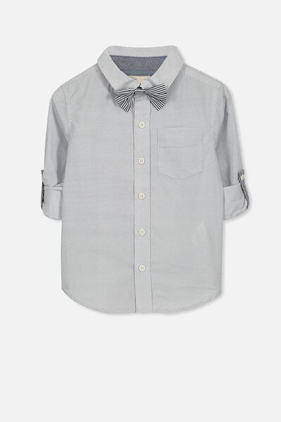 Benny Bow Tie Ls Shirt, WHITE NAVY/POLKA DOT