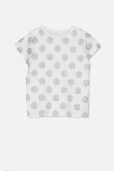 Penelope Short Sleeve Tee, WHITE/GLITTER SPOT/SET IN