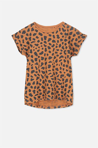 Penelope Short Sleeve Tee, WALNUT/LEOPARD/DROP