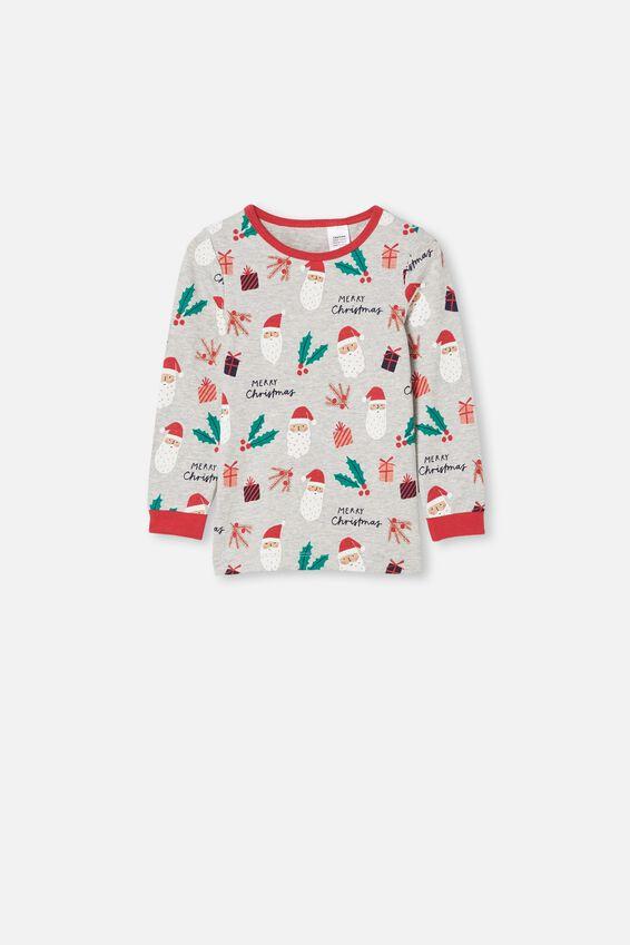 Billie Kids Unisex Long Sleeve Pyjama Set, SANTA FACE SUMMER GREY MARLE
