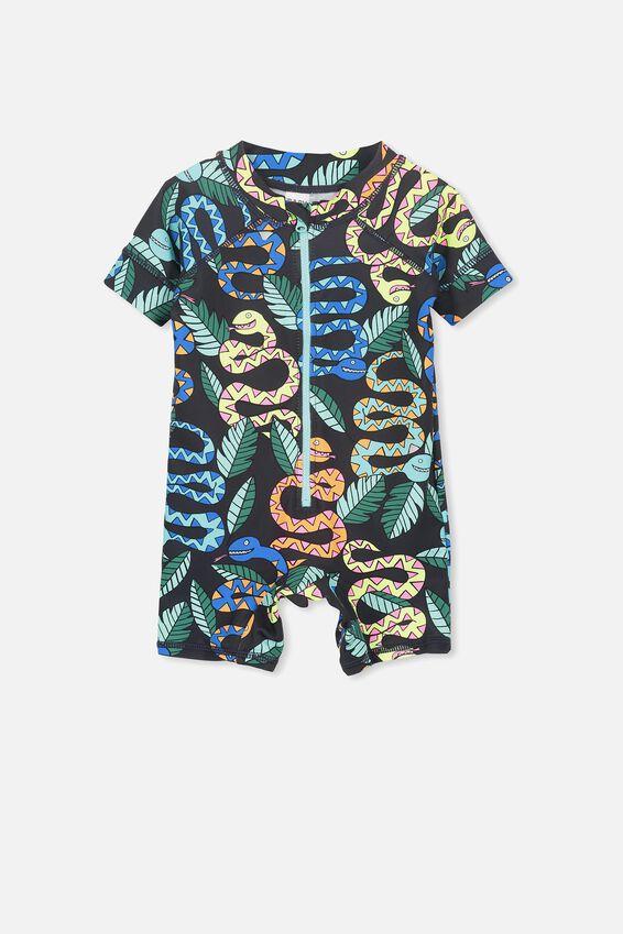 Short Sleeve Harris One Piece Swimsuit, PHANTOM/SNAKES