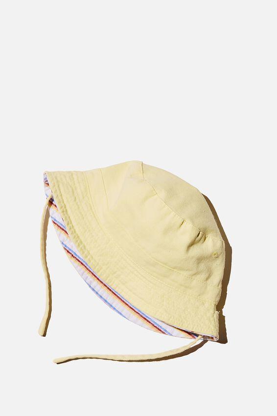 Reversible Bucket Hat, LEMON DROP STRIPE