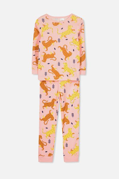 Alicia Long Sleeve Girls PJ Set, WILD CAT