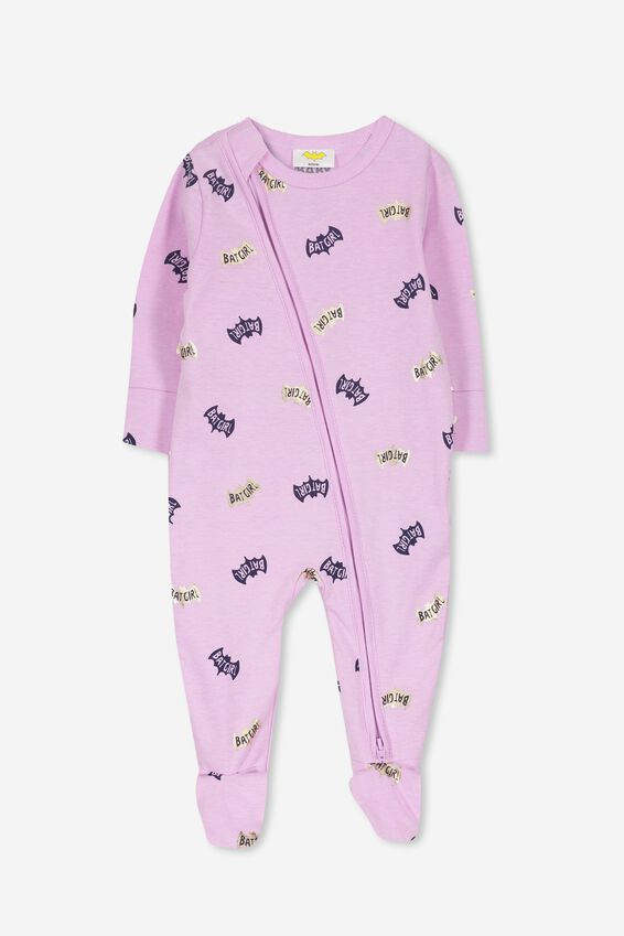 License Zip Through Romper, LILAC MARLE/BATGIRL