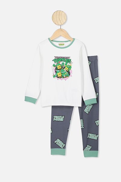 Orlando Long Sleeve Pj Set, LCN NIC DARK VANILLA/RABBIT GREY TMNT