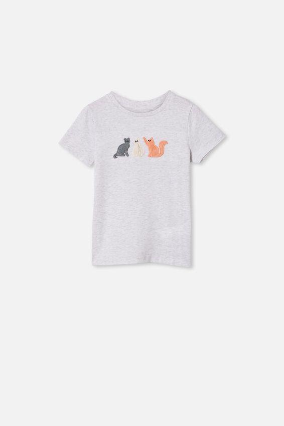 Stevie Short Sleeve Embellished Tee, SUMMER GREY MARLE/THREE CATS