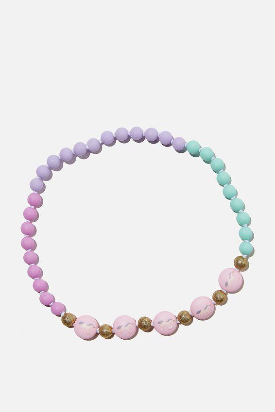 Beaded Necklace, PINK UNICORN