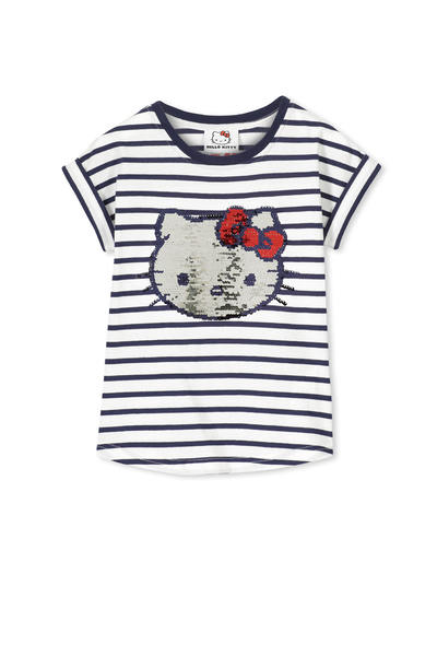 Girls Hello Kitty Short Sleeve Tee, HELLO KITTY SEQUINS /VANILLA TWILIGHT STRIPE