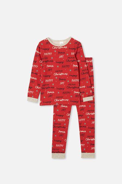 Billie Kids Unisex Long Sleeve Pyjama Set, MERRY CHRISTMAS LUCKY RED