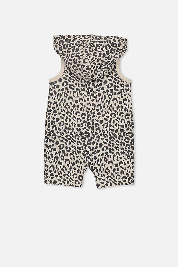 Riley Hooded Playsuit, CARAMEL MARLE/SUMMER OCELOT