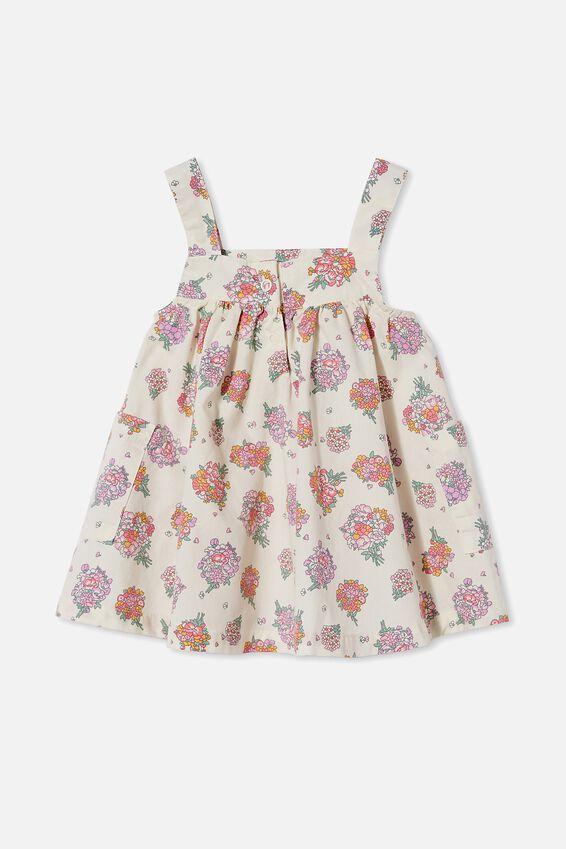 Penny Pinafore Dress, DARK VANILLA/RETRO CORAL PETUNIA FLORAL