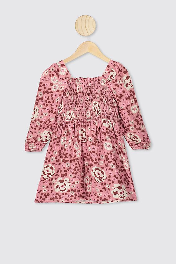 Kip&Co Long Sleeve Dress, KIP CO MUSK ROSE FOREST FLOOR