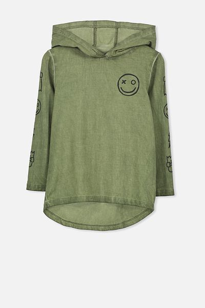 Aiden Hooded Long Sleeve Tee, CLIVE GREEN DW/SMILEY FACE
