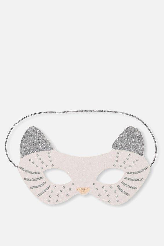 Glitzy Fun Mask, WHITE CAT