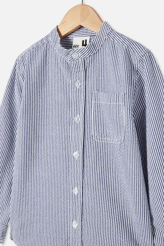 Grandpa Collar Prep Shirt, SEERSUCKER STRIPE/INDIGO