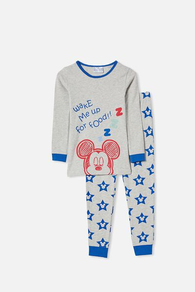 Ethan Long Sleeve Pyjama Set Licensed, LCN DIS MICKEY FOOD / SUMMER GREY MARLE