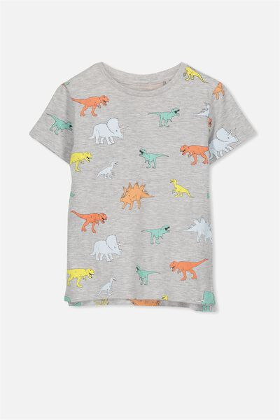 Max Short Sleeve Tee, LIGHT GREY MARLE/DINO YARDAGE