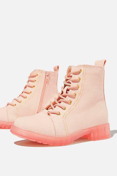 Lace Up Roxie Boot - Peach Whip Canvas, PEACH WHIP