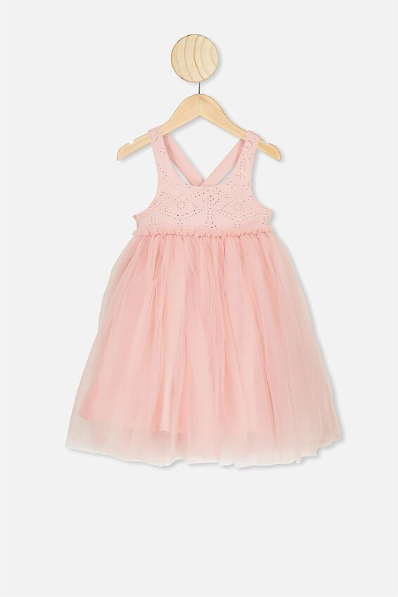 Iris Tulle Dress, DUSTY PINK/BRODERIE