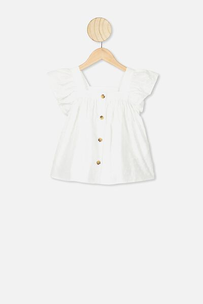 Polly Placket Sleeveless Top, WHITE /DOBBY