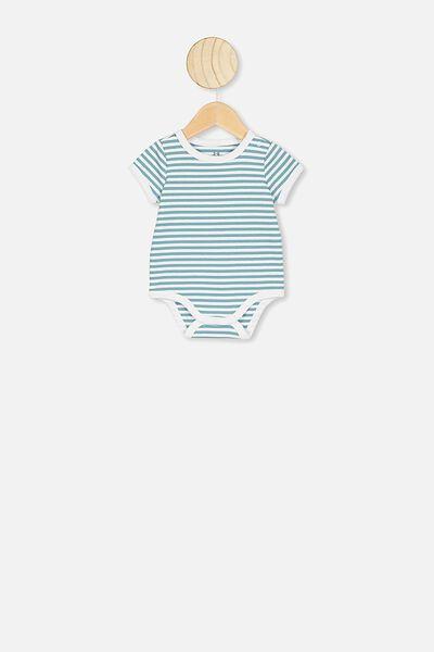 The Short Sleeve Ringer Bubbysuit, CHRIS STRIPE WHITE/AQUA DREAM