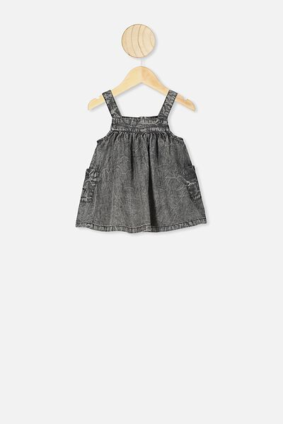 Penny Pinafore Dress, BLACK WASH