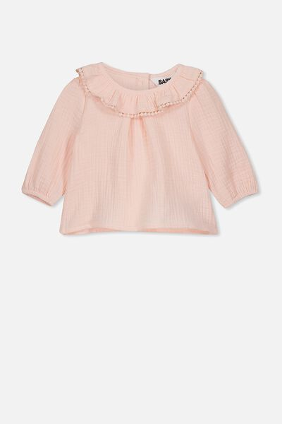 Halle Long Sleeve Ruffle Top, CRYSTAL PINK
